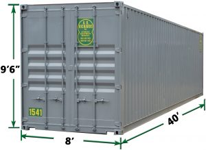 40ft Jumbo Storage Container Exterior Dimensions