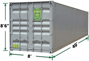 40ft Storage Container Dimensions from A.B. Richards in Old Saybrook CT