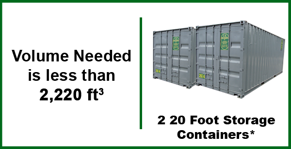 2 20 Foot Storage Container Space