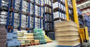 Warehouse stocking shelves