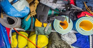 Storing winter camping equipment