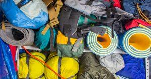 Storing winter camping equipment